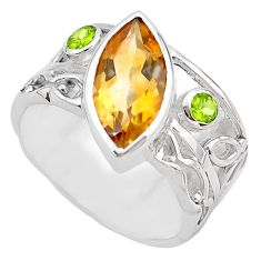 6.61cts natural yellow citrine peridot 925 silver solitaire ring size 8.5 p83246