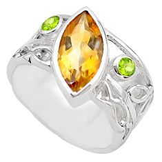 6.31cts natural yellow citrine peridot 925 silver solitaire ring size 7.5 p83250