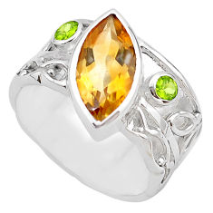 6.31cts natural yellow citrine peridot 925 silver solitaire ring size 6.5 p83251