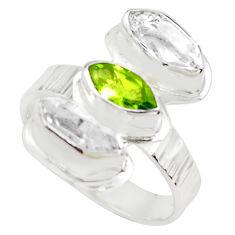 7.33cts natural yellow citrine peridot 925 sterling silver ring size 8 p70883