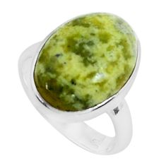 13.24cts natural yellow lizardite 925 silver solitaire ring size 8.5 p45904