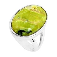 12.03cts natural yellow lizardite 925 silver solitaire ring size 6 p45918