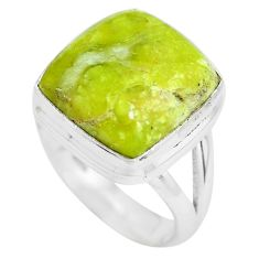 8.42cts natural yellow lizardite 925 silver solitaire ring size 5.5 p61492