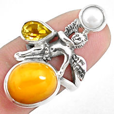 8.42cts natural yellow opal 925 silver angel wings fairy ring size 7 p42625