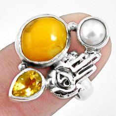 8.42cts natural yellow opal 925 silver hand of god hamsa ring size 7 p42627