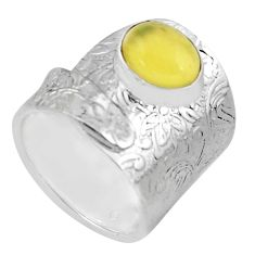 3.82cts natural yellow opal 925 silver solitaire adjustable ring size 8.5 p57019