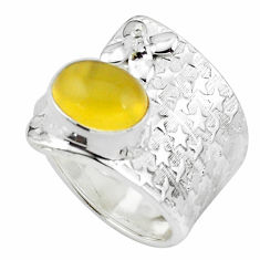 4.21cts natural yellow opal 925 sterling silver adjustable ring size 7.5 p57080