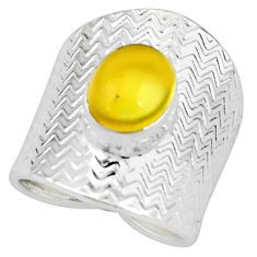 4.38cts natural yellow opal 925 sterling silver adjustable ring size 7.5 p57180