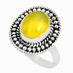 4.62cts natural yellow opal 925 sterling silver solitaire ring size 8.5 p63272