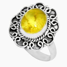 3.99cts natural yellow opal 925 sterling silver solitaire ring size 8 p63274