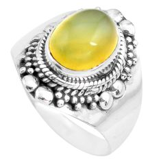 4.02cts natural yellow opal 925 sterling silver solitaire ring size 8.5 p71601