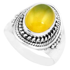 4.51cts natural yellow opal 925 sterling silver solitaire ring size 7 p71602