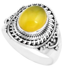 4.22cts natural yellow opal 925 sterling silver solitaire ring size 8.5 p71603
