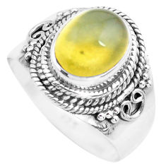 4.22cts natural yellow opal 925 sterling silver solitaire ring size 8 p71605