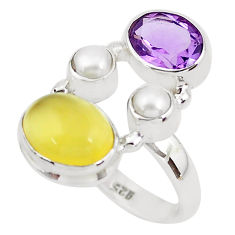 8.14cts natural yellow opal amethyst 925 sterling silver ring size 7.5 p52635