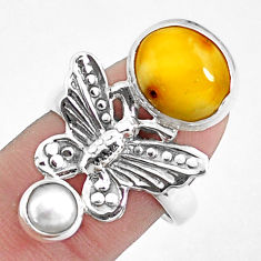 6.57cts natural yellow opal white pearl 925 silver butterfly ring size 8 p42631