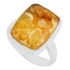 11.23cts natural yellow plume agate 925 silver solitaire ring size 7 p80593