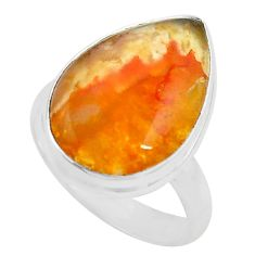 13.70cts natural yellow plume agate 925 silver solitaire ring size 8 p80597