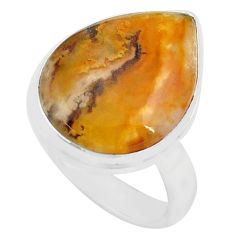 14.72cts natural yellow plume agate 925 silver solitaire ring size 8 p80599