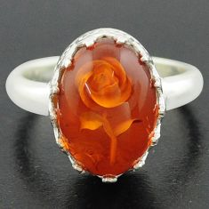 5.09cts orange amber 925 sterling silver flower ring jewelry size 7 p75470