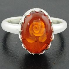 5.53cts orange amber 925 sterling silver flower ring jewelry size 9 p75472
