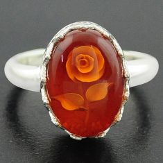 5.79cts orange amber 925 sterling silver flower ring jewelry size 7 p75473