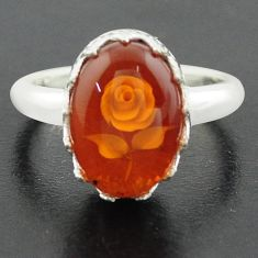 5.52cts orange amber 925 sterling silver flower ring jewelry size 8 p75513