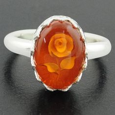 6.03cts orange amber 925 sterling silver flower ring jewelry size 9 p75514