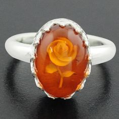 6.02cts orange amber 925 sterling silver flower ring jewelry size 8 p75516