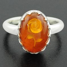 5.38cts orange amber 925 sterling silver flower ring jewelry size 8 p75517