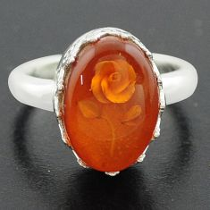 5.38cts orange amber 925 sterling silver flower ring jewelry size 7 p75520