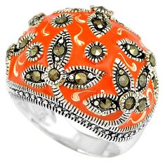 Orange enamel marcasite 925 sterling silver dome ring jewelry size 5.5 h52297
