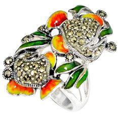 Orange green enamel marcasite 925 sterling silver ring jewelry size 6.5 h49946