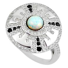 2.35cts pink australian opal (lab) topaz 925 sterling silver ring size 6 c2351