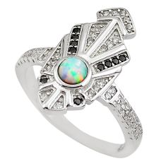 1.81cts pink australian opal (lab) topaz 925 sterling silver ring size 9 c2354