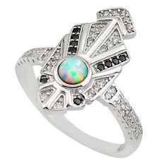 1.83cts pink australian opal (lab) topaz 925 sterling silver ring size 8.5 c2355