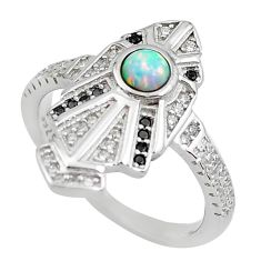 1.92cts pink australian opal (lab) topaz 925 sterling silver ring size 8 c2360