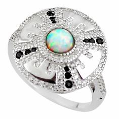 2.63cts pink australian opal (lab) topaz 925 sterling silver ring size 9 c2375
