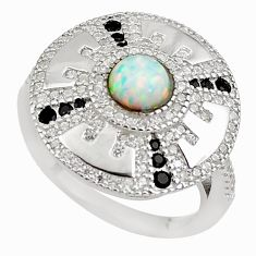2.35cts pink australian opal (lab) topaz 925 sterling silver ring size 6 c2379