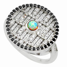 2.85cts pink australian opal (lab) topaz 925 sterling silver ring size 9 c2476