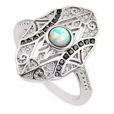 1.94cts pink australian opal (lab) topaz 925 sterling silver ring size 6 c2762