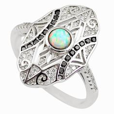 1.94cts pink australian opal (lab) topaz 925 sterling silver ring size 9 c2766