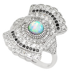 4.40cts pink australian opal (lab) topaz 925 sterling silver ring size 7 c2772