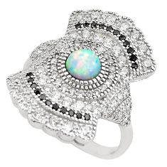 4.40cts pink australian opal (lab) topaz 925 sterling silver ring size 6 c2774