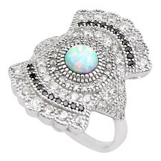 4.52cts pink australian opal (lab) topaz 925 sterling silver ring size 8 c2778
