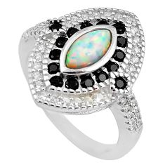 4.40cts pink australian opal (lab) topaz 925 sterling silver ring size 7.5 c2786