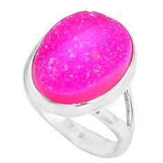 8.09cts pink druzy 925 sterling silver solitaire ring jewelry size 7 d31492