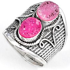 PINK DRUZY OVAL SHAPE 925 STERLING SILVER RING JEWELRY SIZE 9.5 H23809