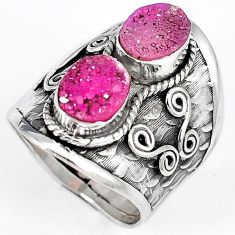 PINK DRUZY OVAL SHAPE 925 STERLING SILVER RING JEWELRY SIZE 7.5 H23818