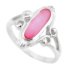 2.89gms pink pearl enamel 925 sterling silver ring jewelry size 7.5 c2523